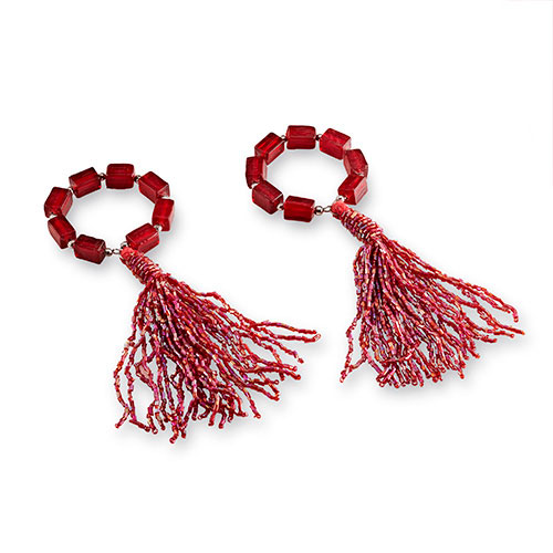 Cranberry Tassel Napkin Ring Set